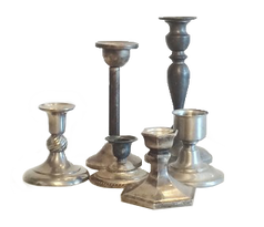 Silver + Pewter Candlesticks