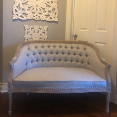 Gray French Tufted Settee