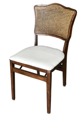 Cane-Back White Linen Folding Dining Chair