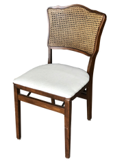 Cane-Back White Linen Folding Dining Chair
