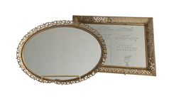 Tabletop Gold Ornate Mirror Tray + Stand