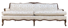 White Provincial Sofa With Brown Trim