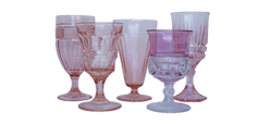 Pink Water and Wine Glassware
