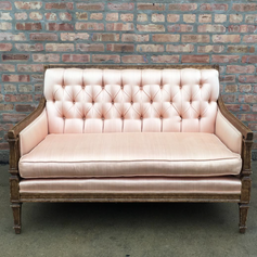 Tufted silk peach loveseat