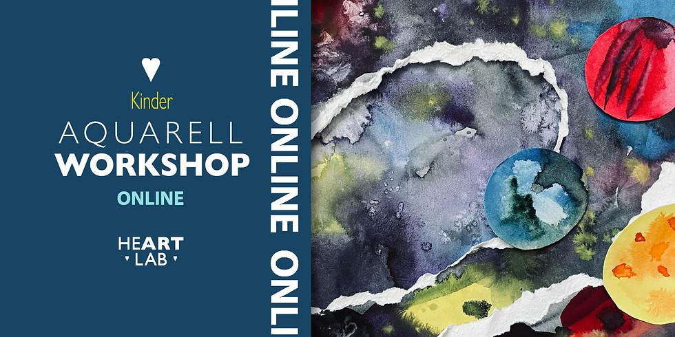 """Online Live Aquarell """"Space"""" Workshop für Kinder"""