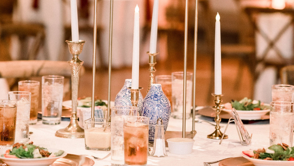 Brass/Gold Candle Holders with Flameless Ivory Taper Candles