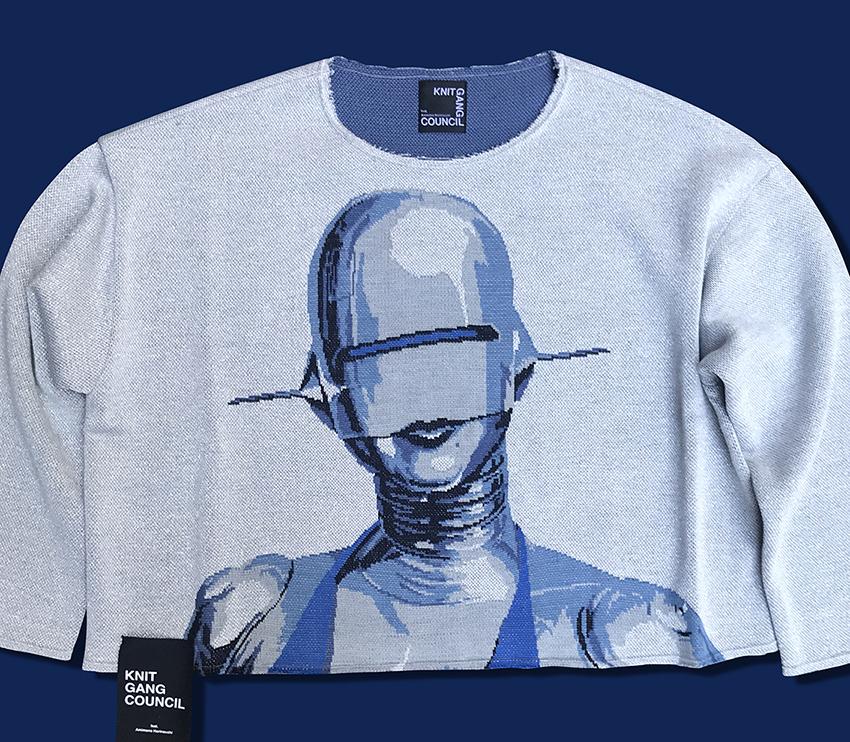 Hajime Sorayama Silver sweater