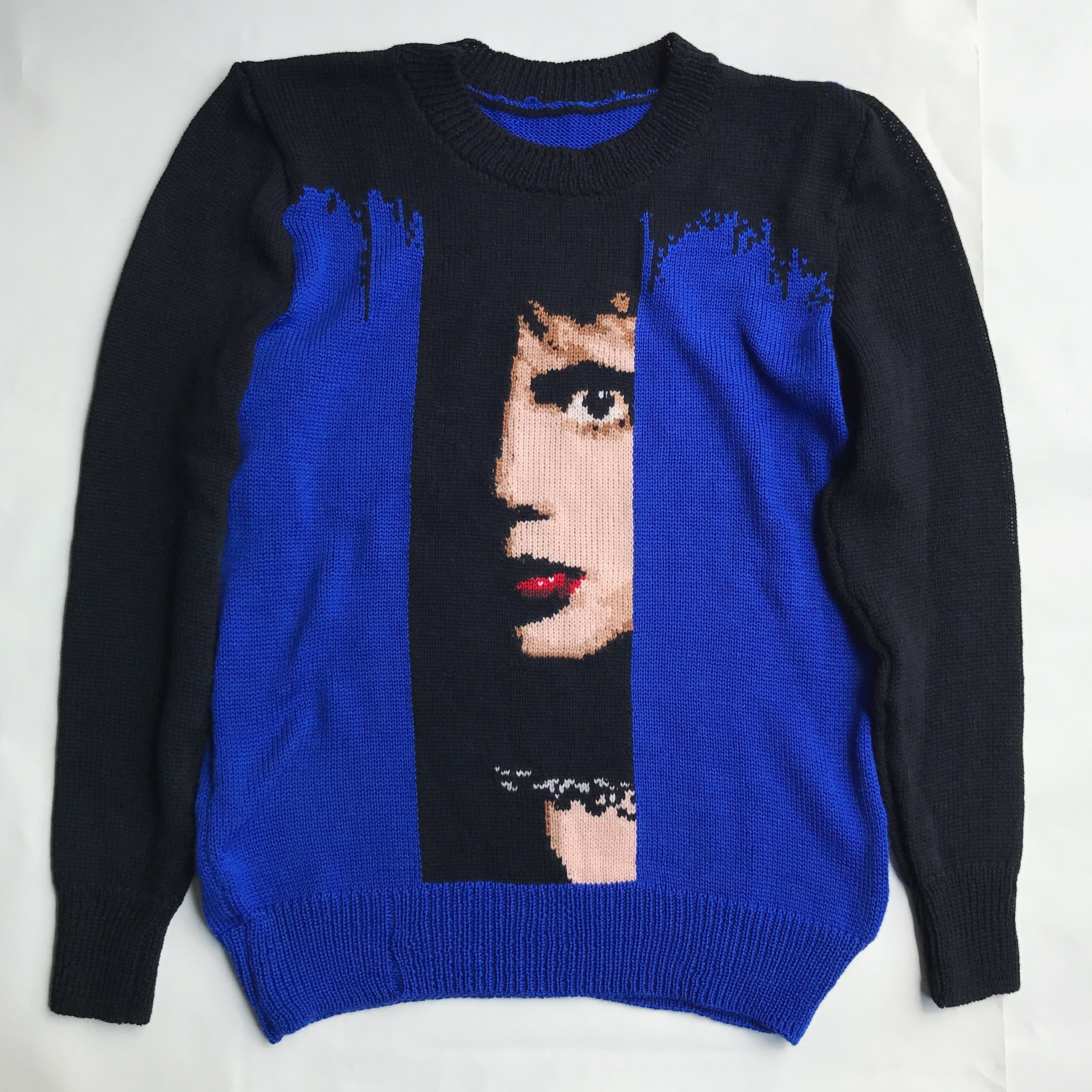 Blue velvet sweater