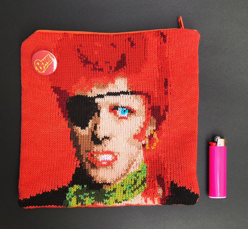 David Bowie knit pouch