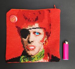 David Bowie knit pouch