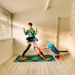 Yoga fun with Hamish & Gus