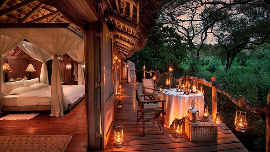 Lake Manyara Tree Lodge Room View at Night