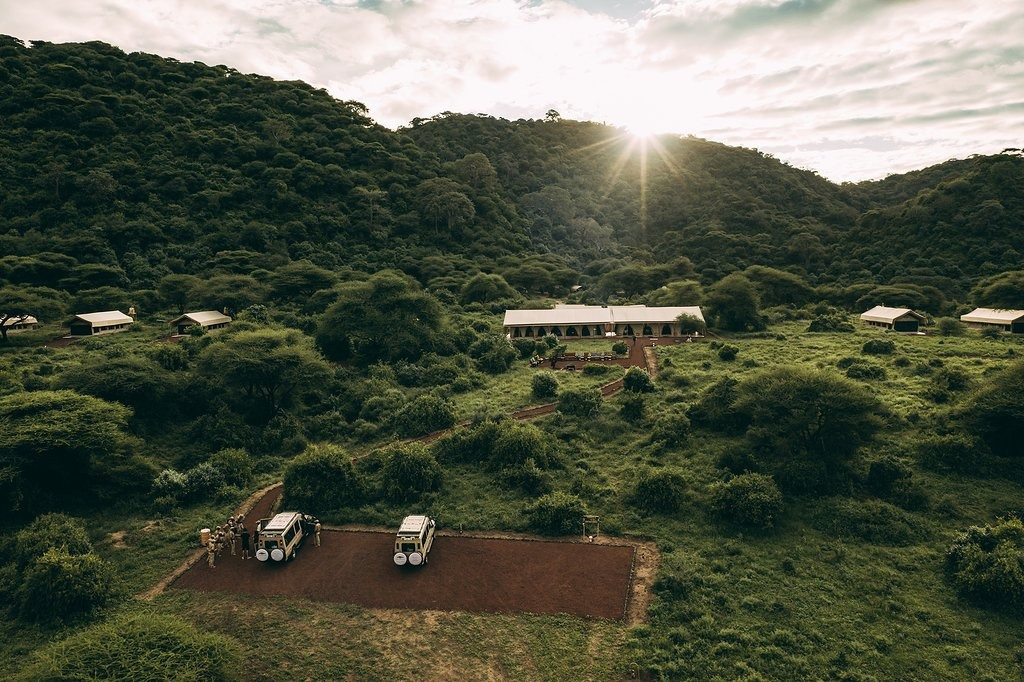 Lake Manyara Tortilis Camp Aerial View