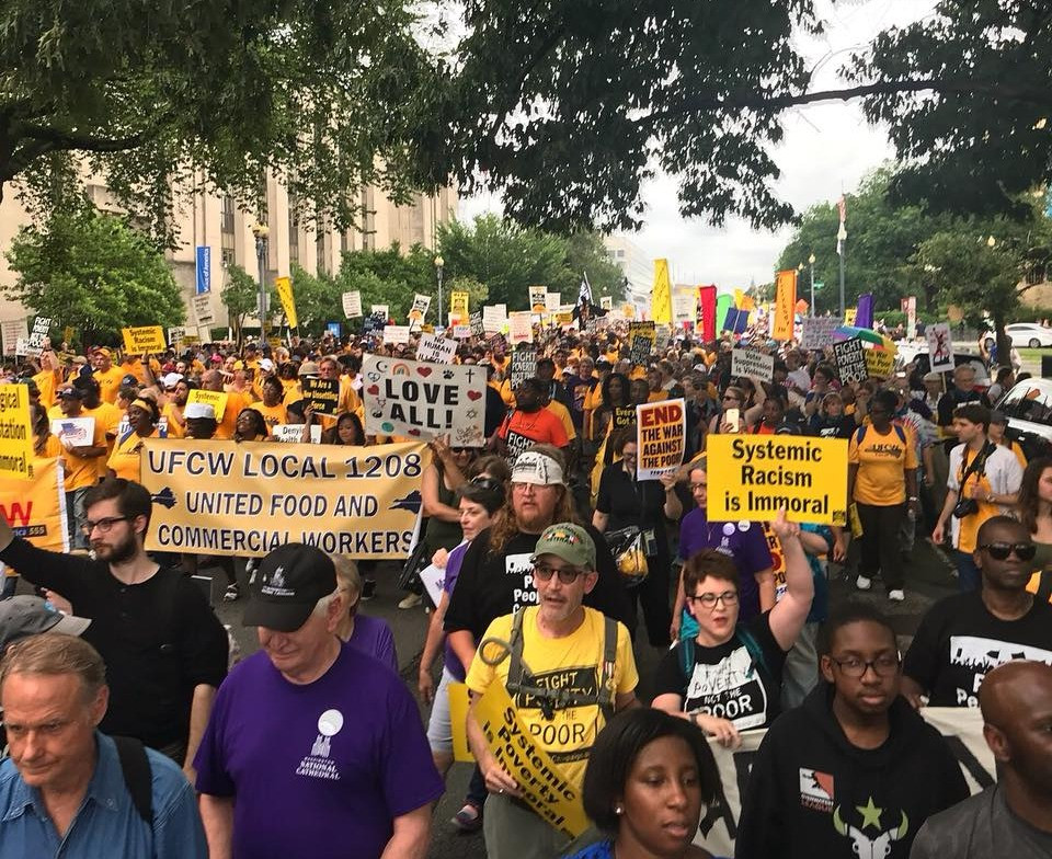 Photo of faith leaders and activists marching in D.C. for the Poor People's Campaign