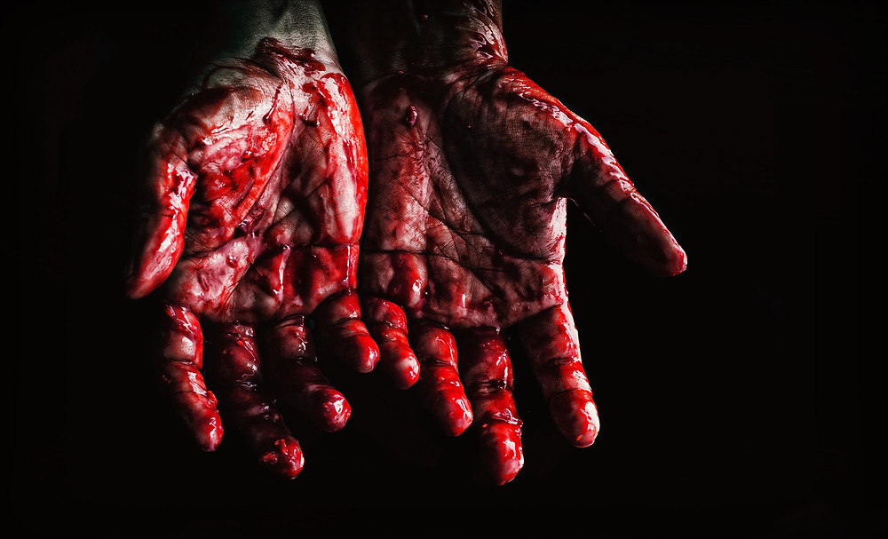 Photo by Neosiam at Pexels of hands covered in blood