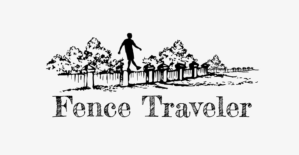 Fence Traveler Blog logo with a man walking on top of a fence