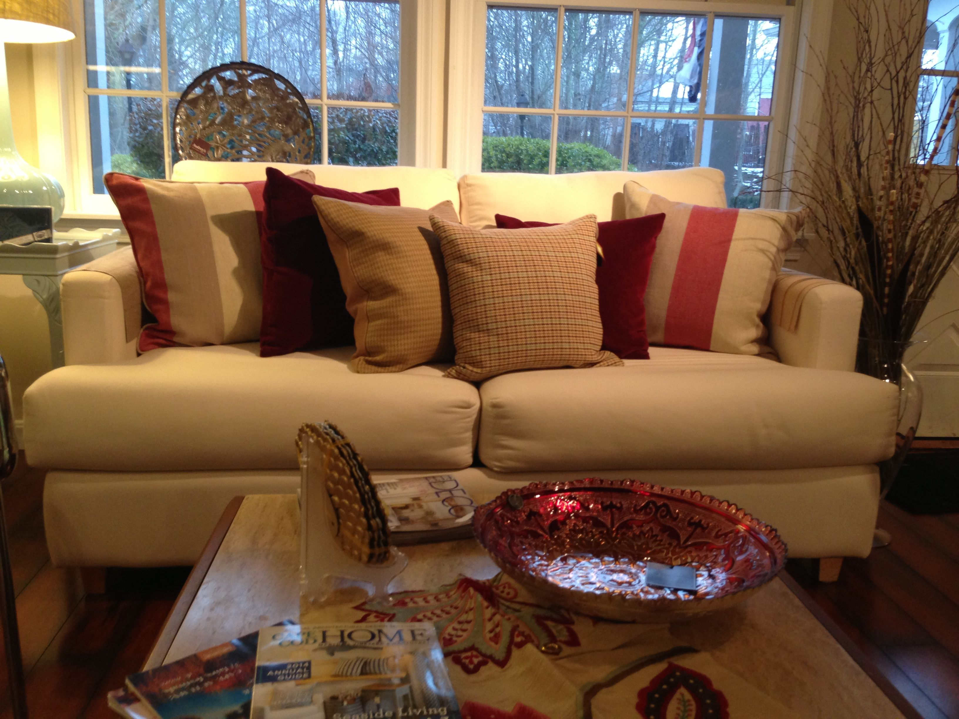 Winter Couch with Custom Pillows