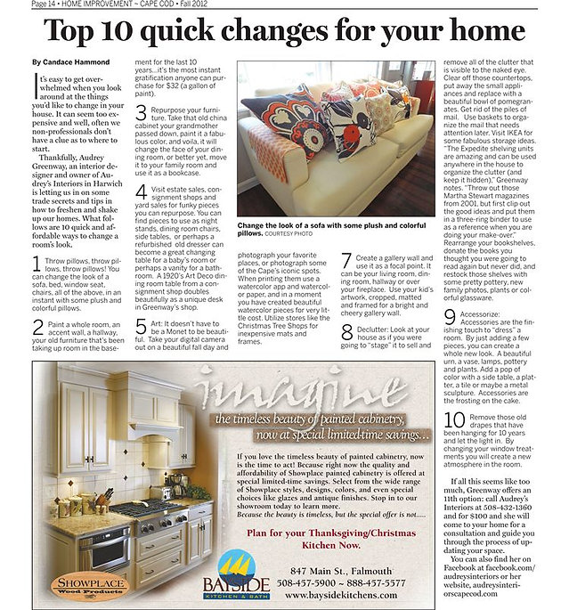 Audrey's Interiors feature article on 10 quick design fixes for your home in Cape Codder Fall Home Improvement 2012.