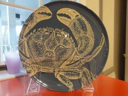 Thomas Paul melanine blue crab plate