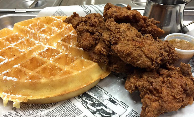 Alley Bowling BBQ Chicken + Waffles
