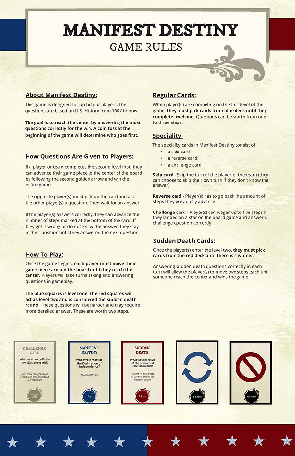 Manifest Destiny Cards and Game Rules -