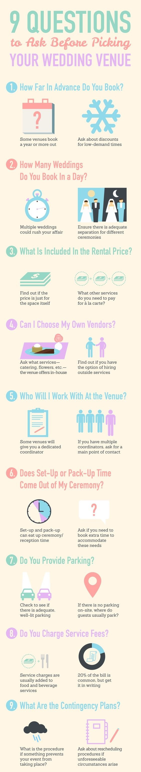 Questions To Ask Venue Before Booking