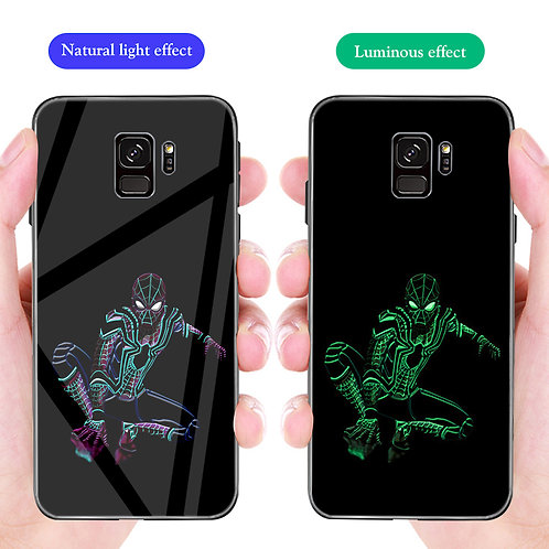 Spider Man Samsung S8 - S10 Cover Luminous Tempered Glass