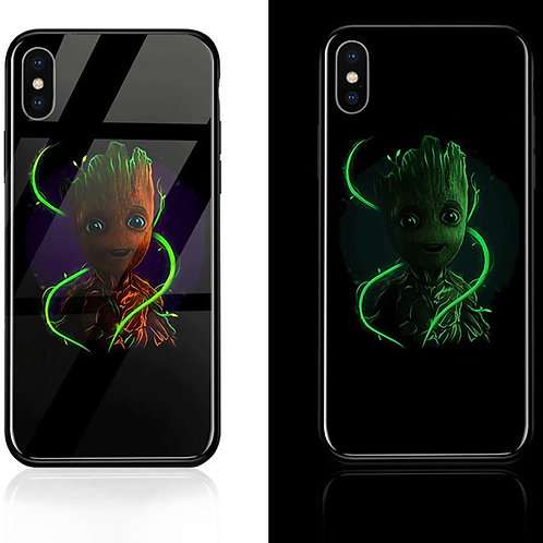 Avengers Groot Gardians of the Galaxy Iphone 6 - 11 Luminous Tempered Glass Case