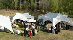 Capri marquees on the wedding lawn