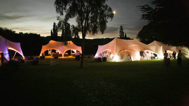 Illuminated 4 tent courtyard