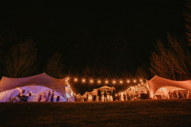 Illuminated 3 tent courtyard