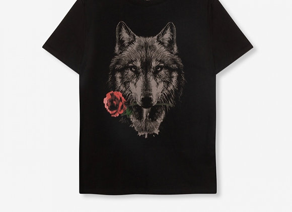 Knitted wolven T-shirt black