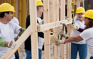 Volunteers on Construction Site