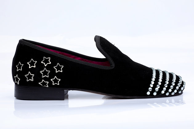 THOUSAND DIAMONDS BLACK SUEDE LOAFERS