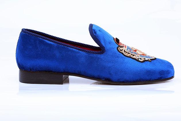 PRINCE ALBERT ELECTRIC BLUE VELVET SLIPPERS