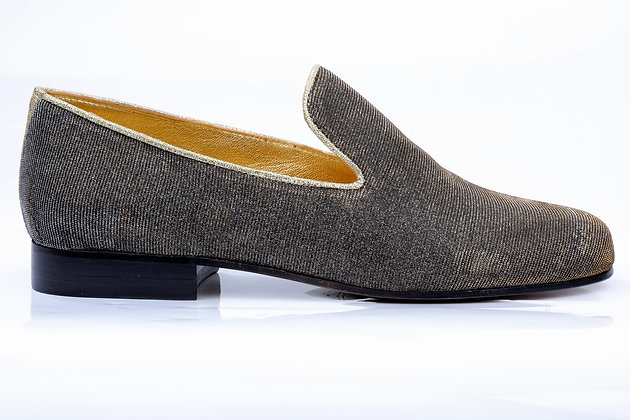 CHAMPAGNE LIFE GOLD AND SILVER LUREX LOAFERS