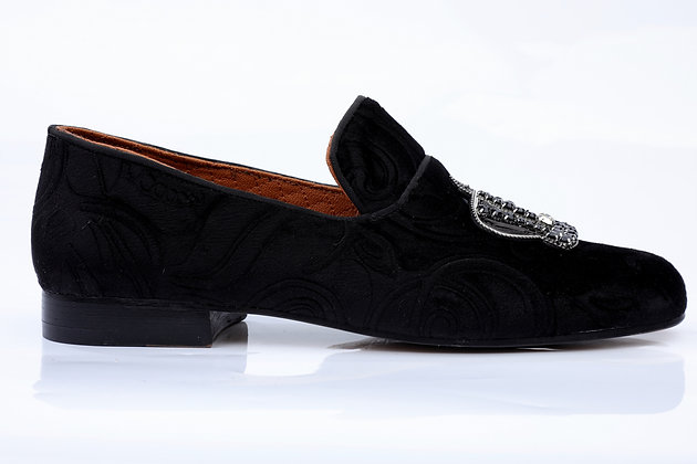 MEDICIS FRANCE BLACK VELVET SLIPPERS