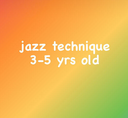 Wednesday 3:15pm Jazz Tech for 3-5 yrs old- Online