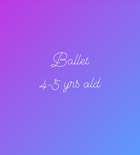 Saturday 11:15am Ballet for 4-5 year olds In Studio