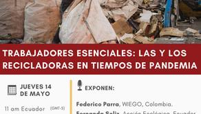 """Invitación a seminario virtual """"Los y las recicladoras en tiempos de pandemia:..."""""""