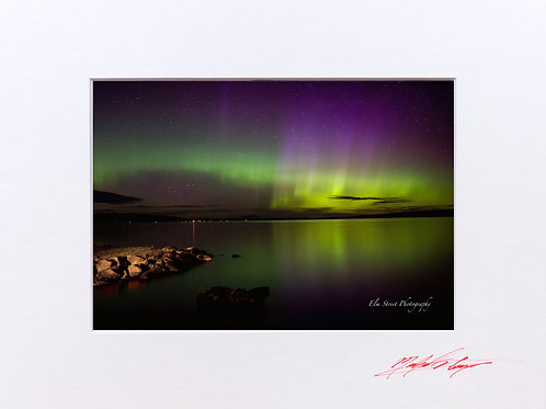 Northern Lights (1) taken at Schoodic Lake, Maine. 5x7 Print matted to 8x10