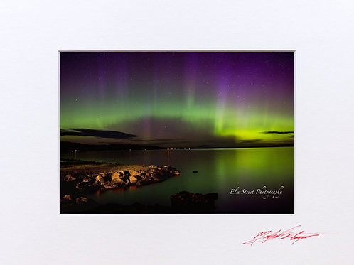 Northern Lights (3) taken at Schoodic Lake, Maine. 5x7 Print matted to 8x10