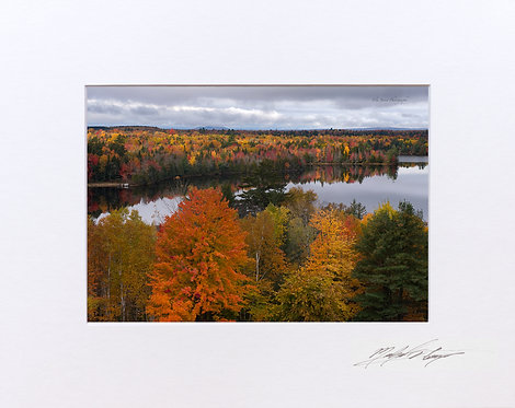 Fall foliage in Maine, Salmon Stream Lake, 5x7 Print matted to 8x10