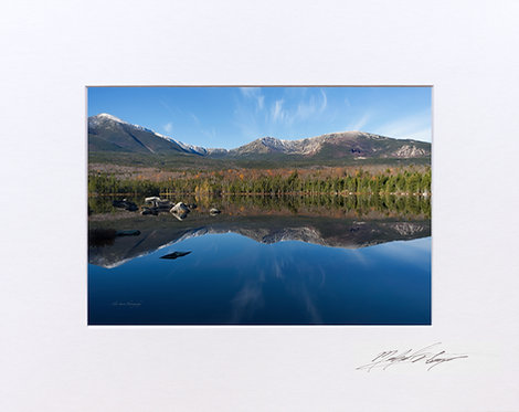 Katahdin Reflections, Sandy Stream Pond, 5x7 Print matted to 8x10