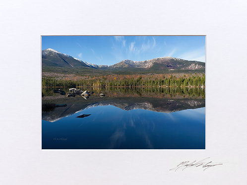 Katahdin Reflections, Sandy Stream Pond, 5x7 Print matted to 8x10