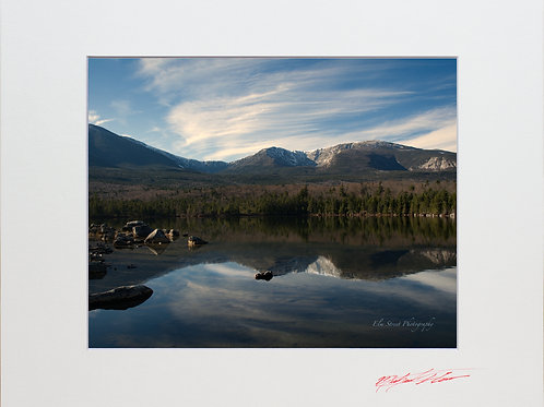 Mount Katahdin Reflections, 8x10 Lustre Matte Print, matted to 11x14