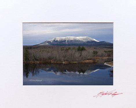 Mount Katahdin, taken from Abol Bridge. 5x7 Print matted to 8x10