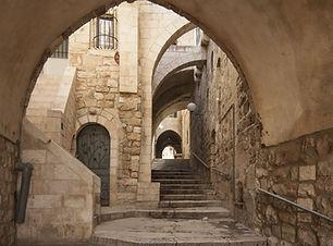 Old city hidden passageway, stone stairw