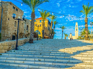 The stairs lead to Kedumim Square and St