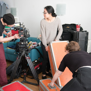 Sound recordist Greg with camera team Yuri and Kelly. Photo by Jameka Autry